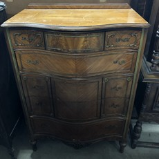 Antique Serpentine Walnut Dresser #ORA