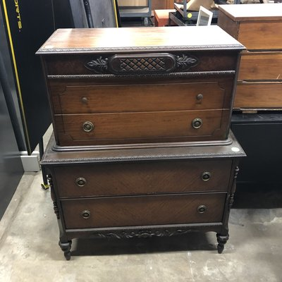 Vintage Dark Tiger Maple Dresser