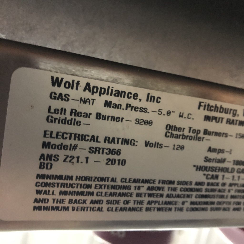 Wolf 6 Burner Gas Cooktop