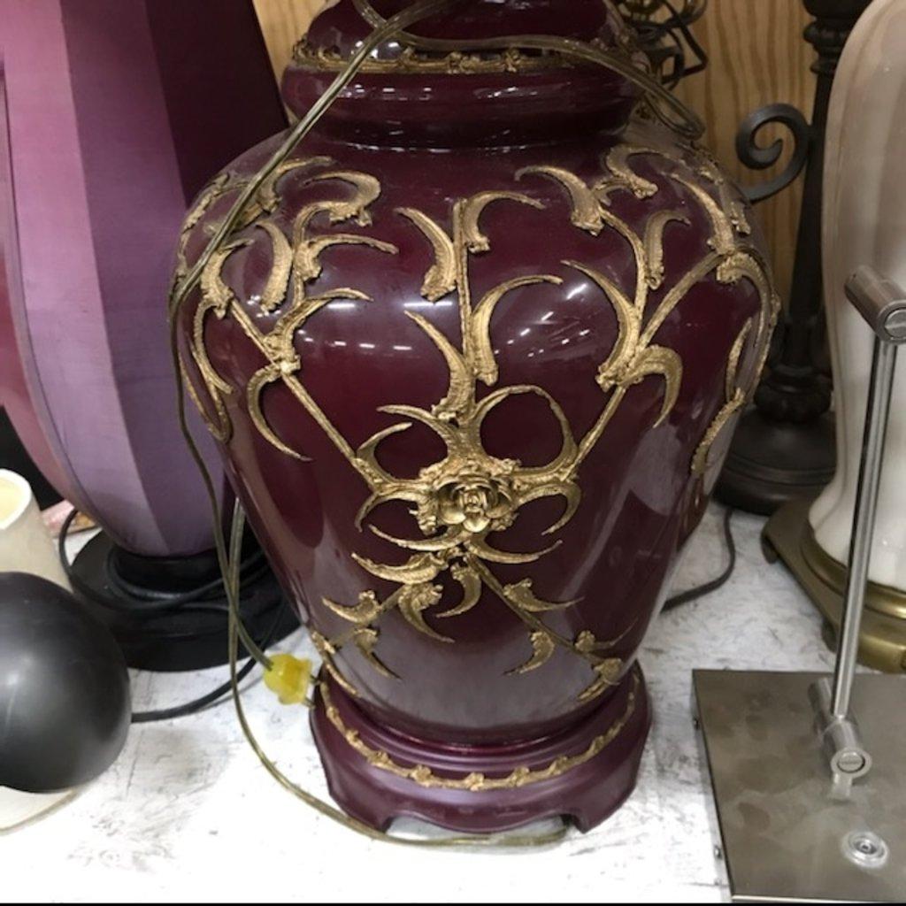 Pair of maroon lamps