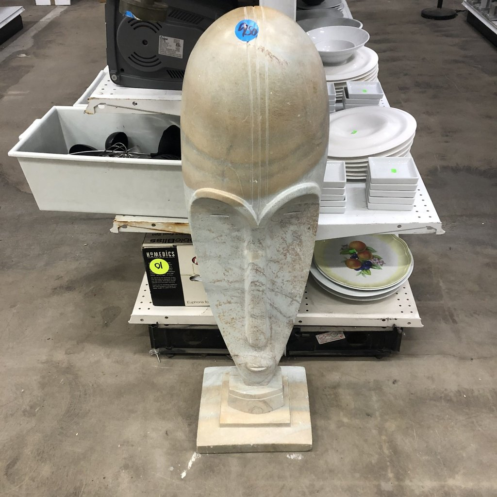 Marble African Mask Sculpture