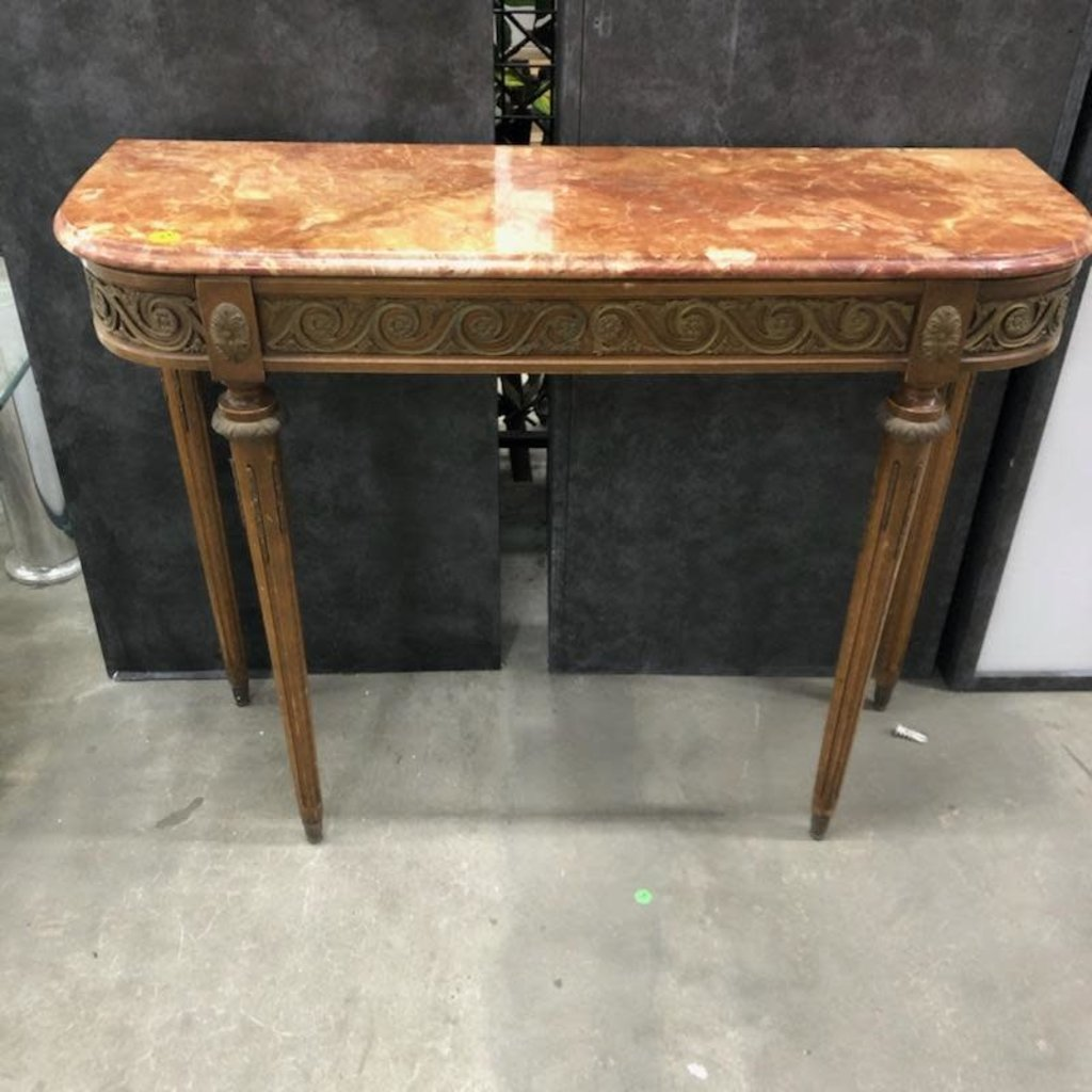 Antique Marble Top Console Table#YEL