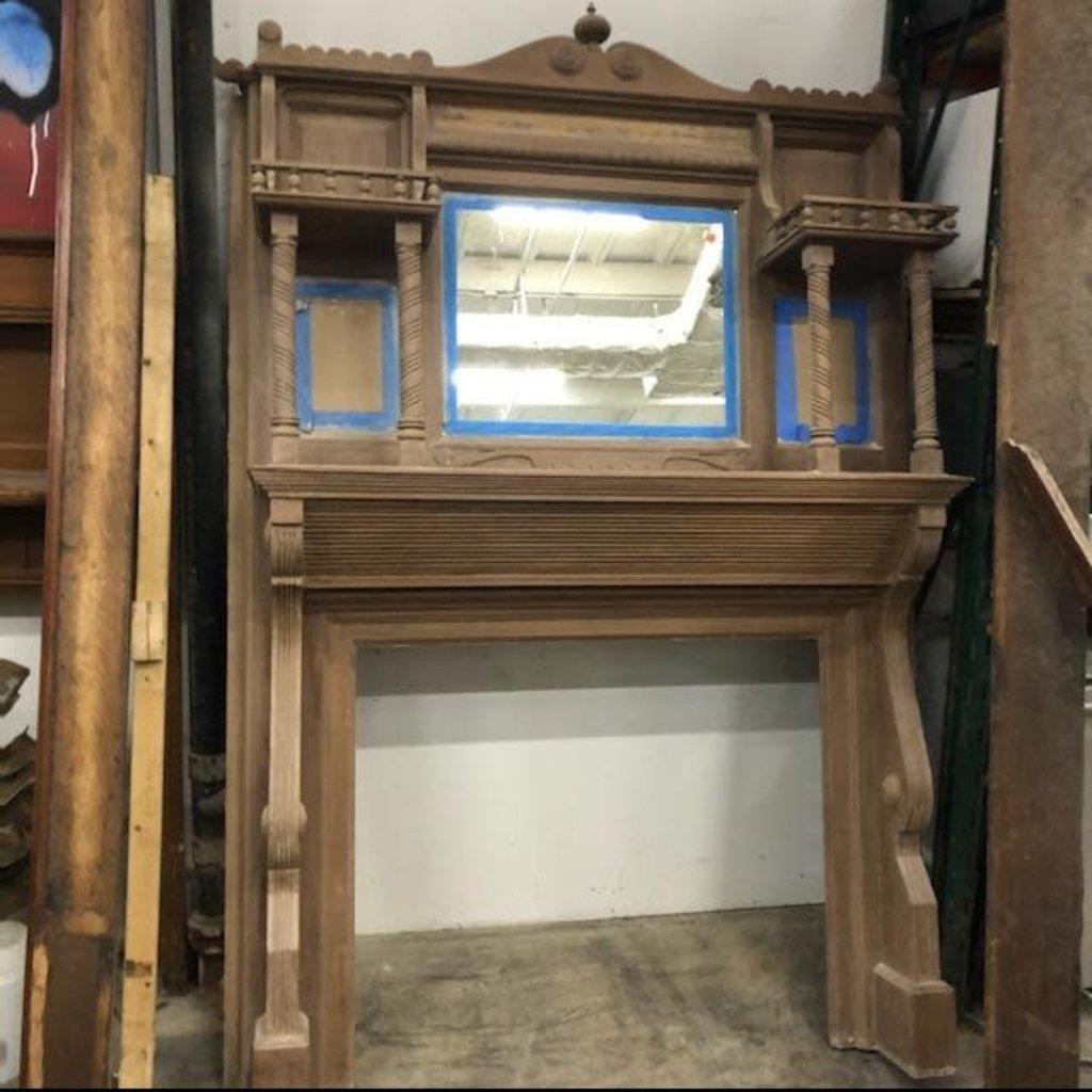 Ash Brown Mirrored Fireplace Mantel #ORA