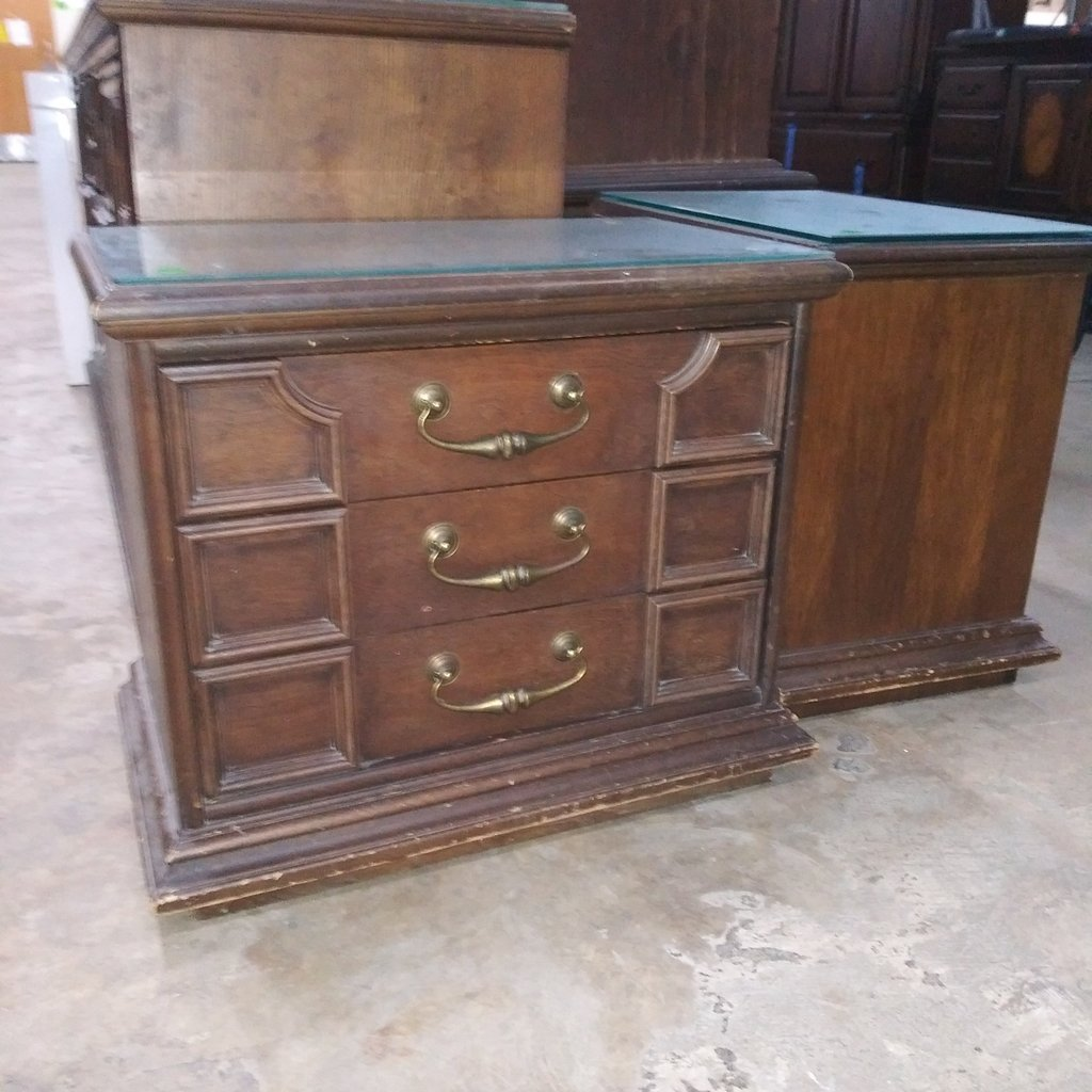 Glass Top Nightstand Set