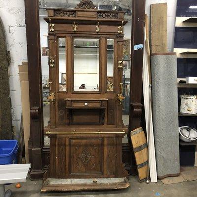 Antique Oak Mirrored Coat Hanger