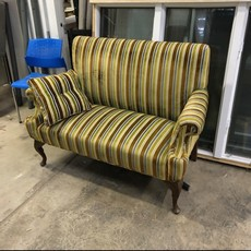Green Clawfoot Striped Sofa