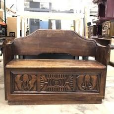 Antique Wooden Hand-carved Storage Bench