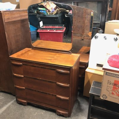 Antique Oak Mirror Back Dresser