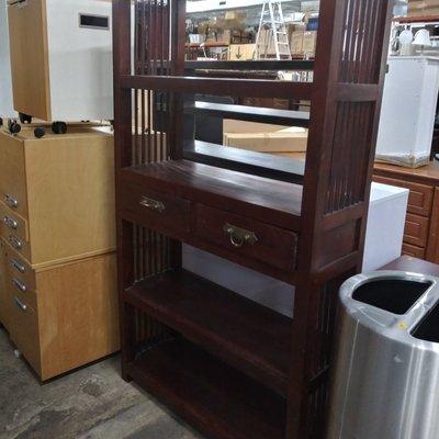 Walnut Bookcase With Draws