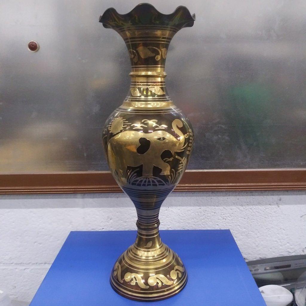 Engraved Fluted Brass Vase