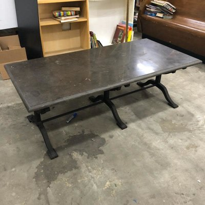 Arhaus Granite Coffee Table with Wrought Iron Base
