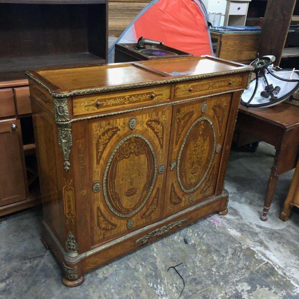 Antique OrnateTiger Maple Liquor Cabinet