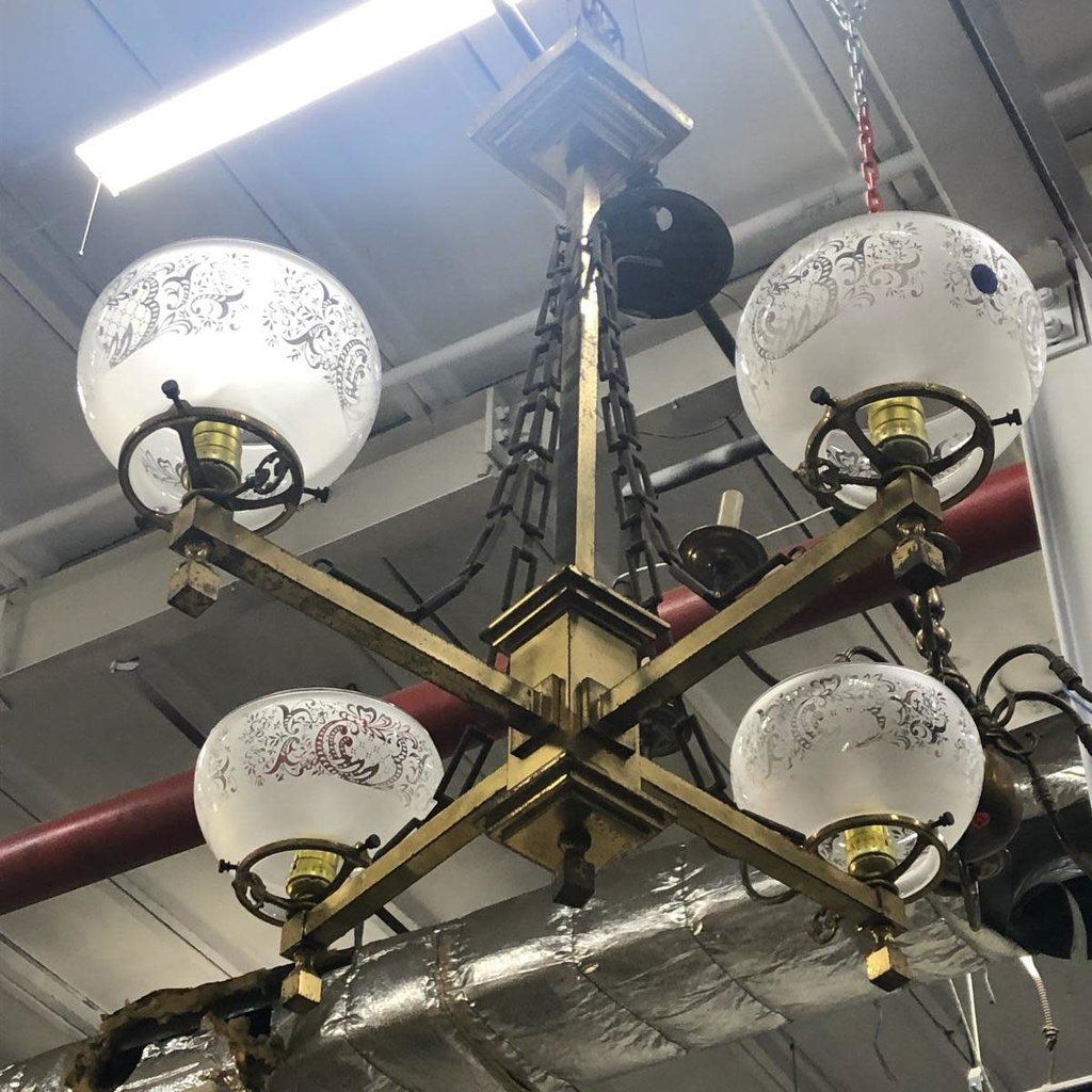 Antique Brass 4 Light Chandellier