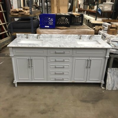 Windlowe Bath Vanity with White Marble Top