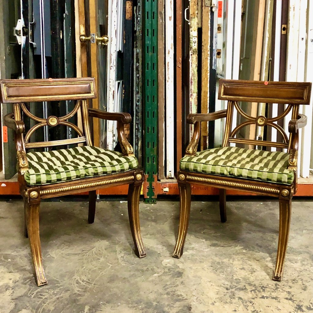 Antique Oak Accent Armchair with Green Striped Cushion