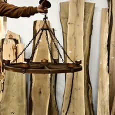 Solid Oak Wagon Wheel Chandelier