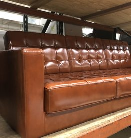 Rust Faux Leather Sofa
