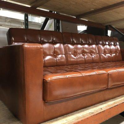 Rust Faux Leather Sofa