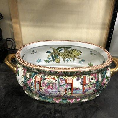 Vintage Chinese Porcelain Koi Fish Bowl Planter
