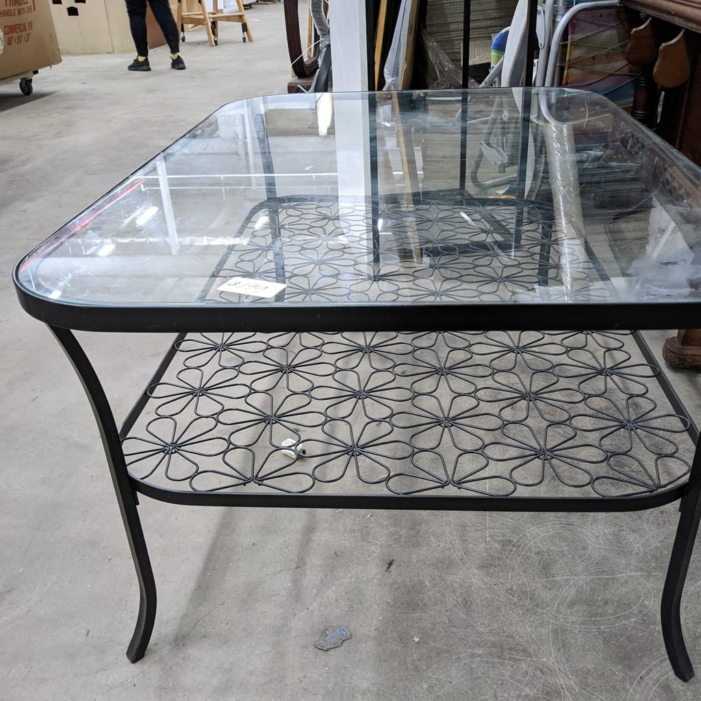 Coffee table with flower lower tier