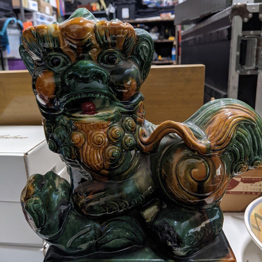 1960s Chinese Foo Dog Ceramic Statue