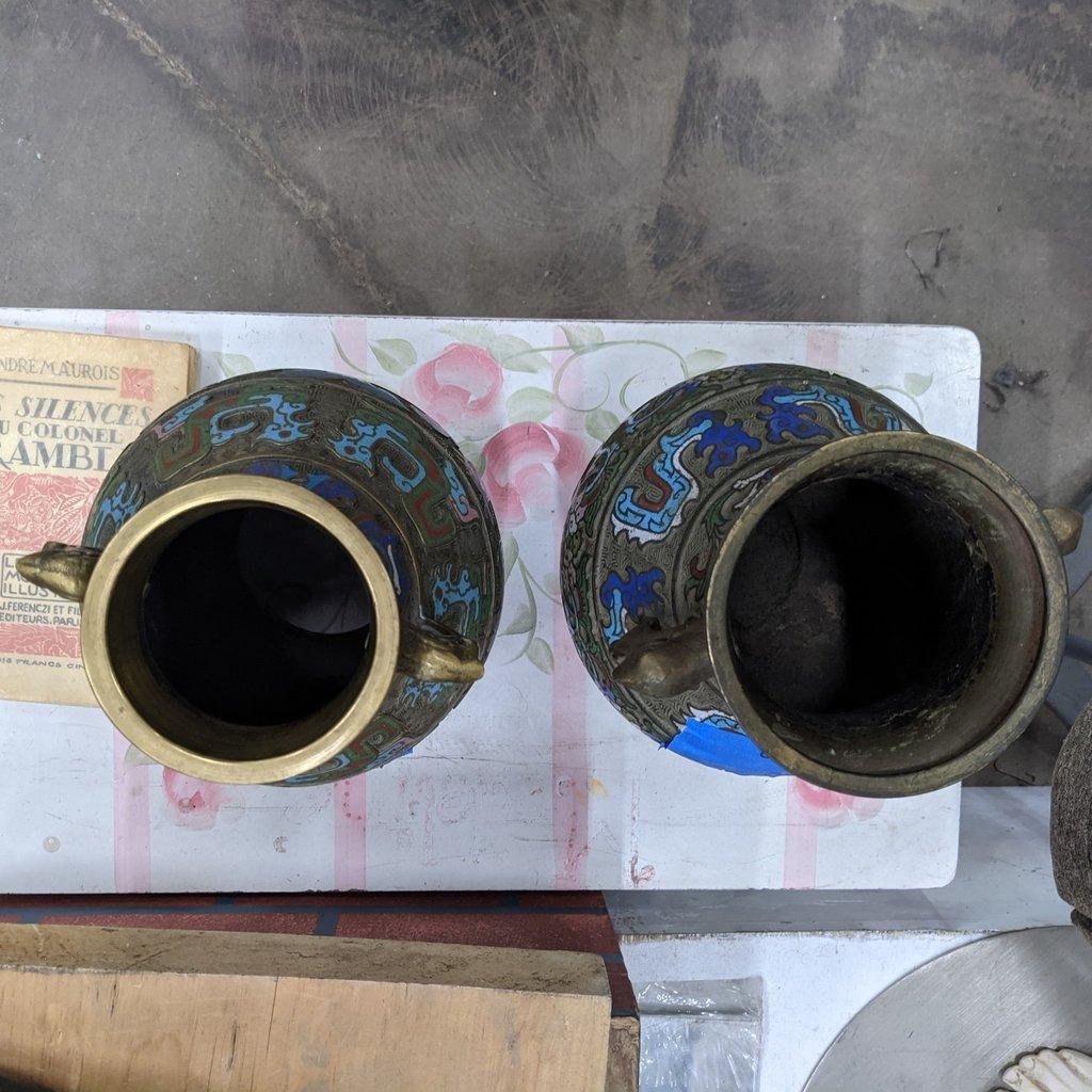 Antique Brass Japanese Vase Set