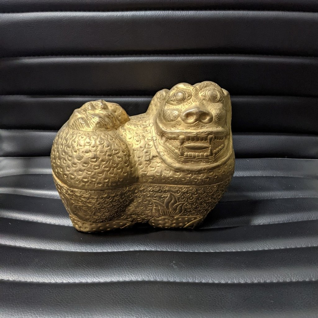 Chinese Silver Foo Dog Boxes (set of 2)