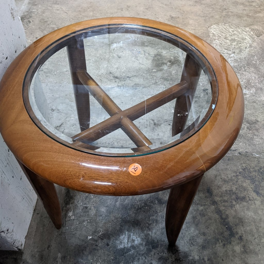 Glass & Wooden Side Table