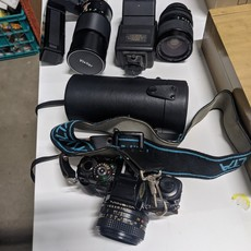 Minolta Camera w/ Case & Lenses