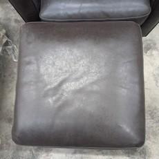 Dark Brown Leather Armchair & Ottoman