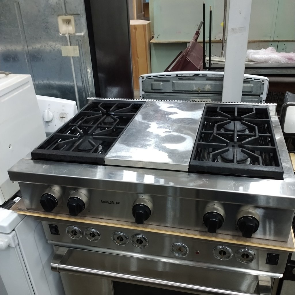 Wolf 4-Burner -W- Grill Cooktop