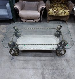 Etched Glasstop Iron Coffee Table