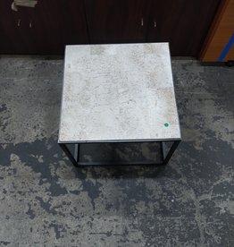 Set Of Hammary Iron Travertine Side Tables