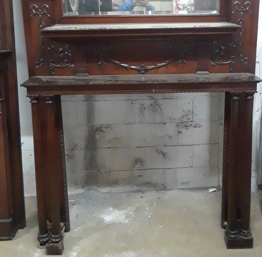 Antique Decorative Column Mantel #BLU