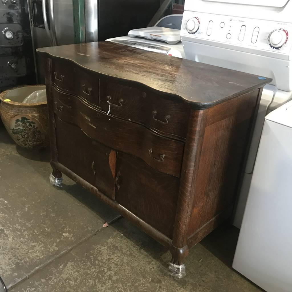 Tiger Oak Serpentine Dresser #WHI