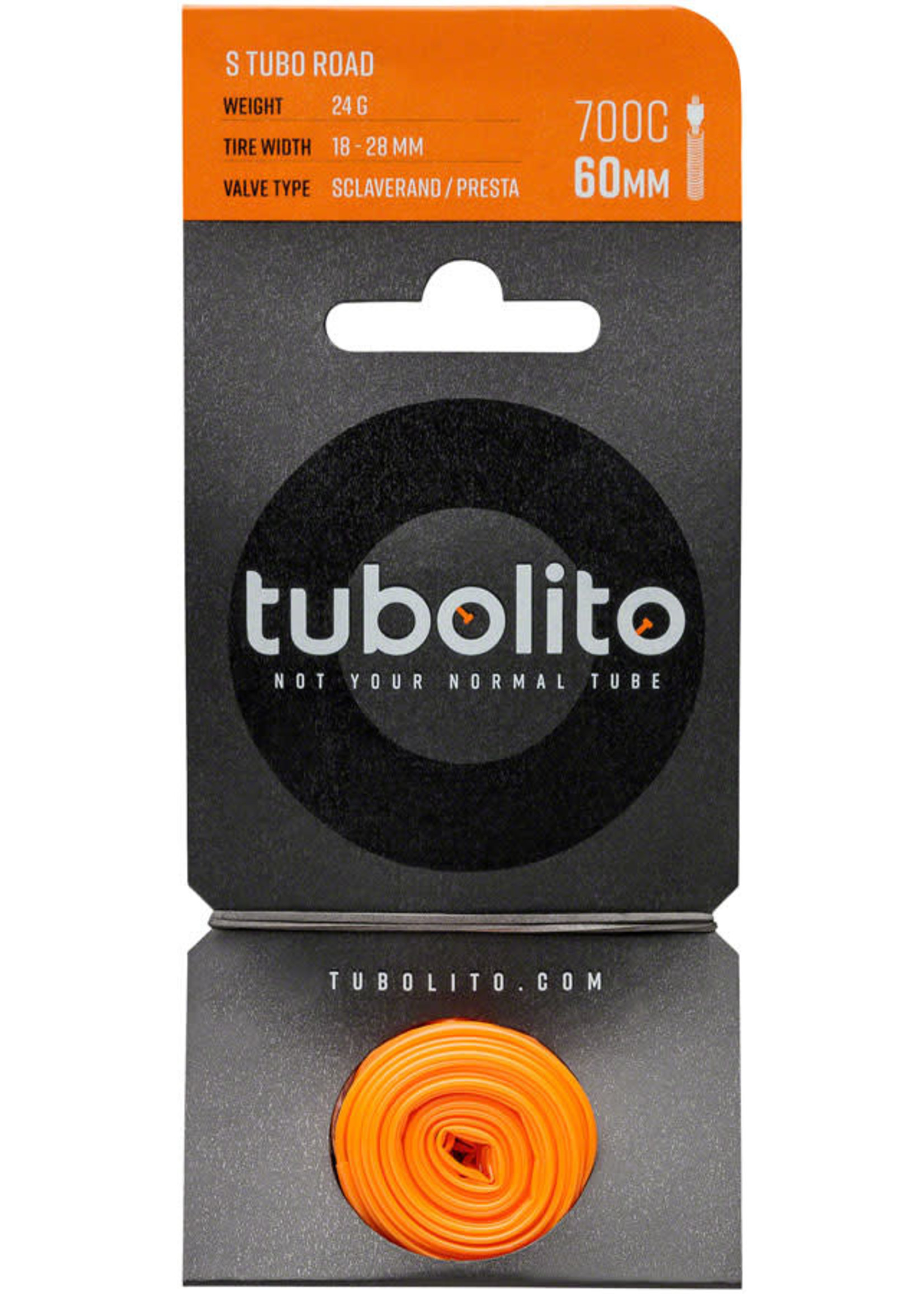 tubolito Tubolito S-Tubo Road 700 x 18-28mm Tube - 60mm Presta Valve, Disc Brake Only