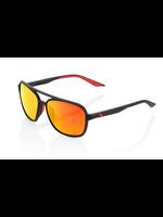 100% 100% Kasia Aviator Round - Soft BLK - HiPER Red Multi Mirror
