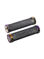 Supacaz Supacaz, Diamond Kush, Grips, 135mm, Black/Oil Slick ringz, Pair
