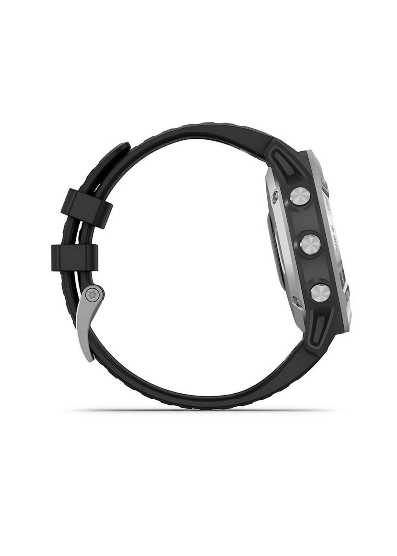Garmin Garmin, fenix 6, Sport, Watch, Watch Color: Silver, Wristband: Black - Silicone, 010-02158-00