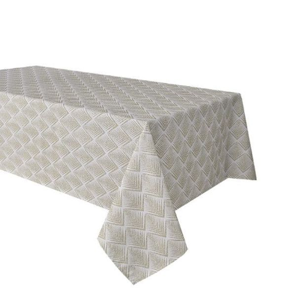 "TexStyles Deco Printed Tablecloth ""Chevron Beige"" 58 x 108"""