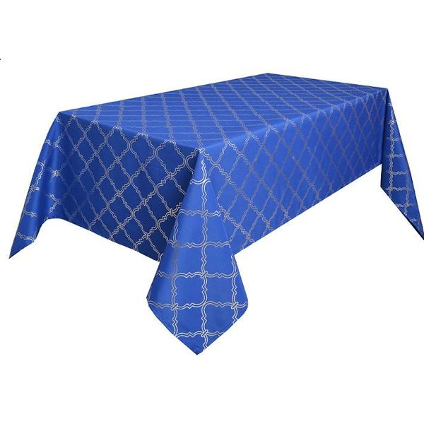 "TexStyles Deco Printed Tablecloth ""Lattice Blue"" 60 x 108"""
