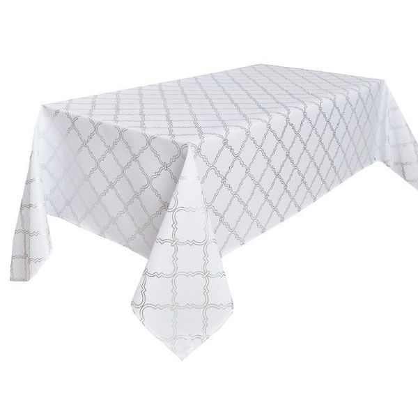 "TexStyles Deco Printed Tablecloth ""Lattice White"" 60 x 120"""