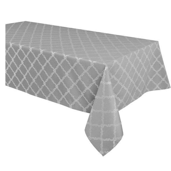 "TexStyles Deco Printed Tablecloth ""Lattice Grey"" 60 x 108"""