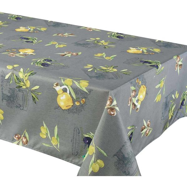 "TexStyles Deco Printed Tablecloth ""Primo Grey"" 58 x 94"""