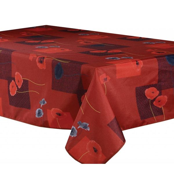 """TexStyles Deco Printed Tablecloth """"Poppy (Red) 58x 94"""""""