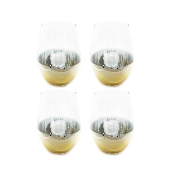 """Ensemble 4 verres à vin sans pied avec accent Or """"Ombre"""" de Mann"""
