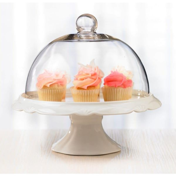 """Assiette à gâteau et cloche 25cm """"Bianco"""""""