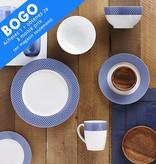 H2K 16pc Blue Diamond Dinnerware Set