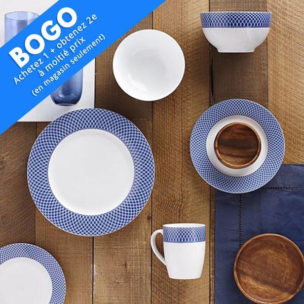 Ensemble à vaisselle 16mcx en porcelaine Motif Bleu H2K