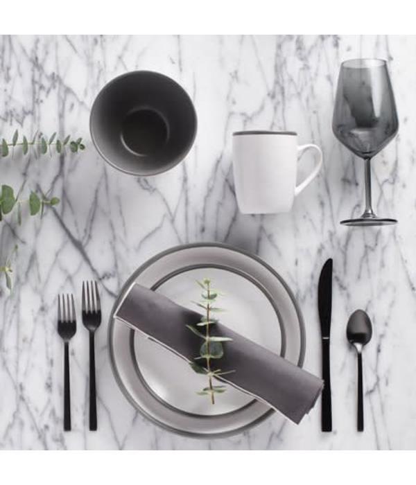 H2K 16pc 2-Tone Grey Dinnerware Set